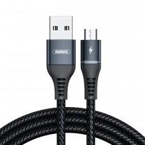 Cablu Remax Nylon Braided Led Light - Micro USB, 2.4A, 1m...