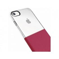 Husa iPhone 7 / iPhone 8 - Baseus Half to Half PC+TPU Transparent+Red