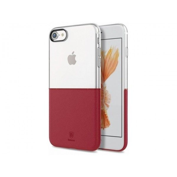 Husa iPhone 7 / iPhone 8 - Baseus Half to Half PC+TPU Transparent+Red