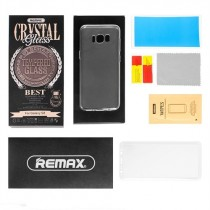 Pachet Folie sticla Samsung Galaxy S8 si Husa silicon Ultra Slim - Remax Crystal Glass Full Screen 3D White