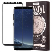 Pachet Folie sticla Samsung Galaxy S8 si Husa silicon Ultra Slim - Remax Crystal Glass Full Screen 3D Black