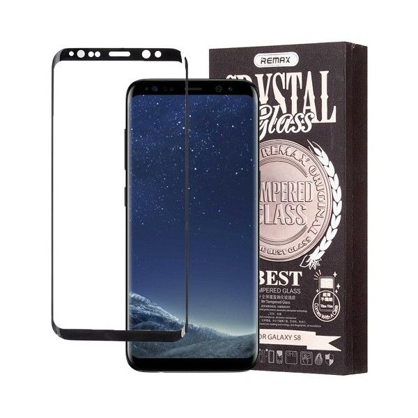Pachet Folie sticla Samsung Galaxy S8 si Husa silicon Ultra Slim - Remax Crystal Glass Full Screen 3D Black