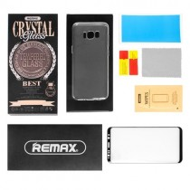 Pachet Folie sticla Samsung Galaxy S8 Plus si Husa silicon Ultra Slim - Remax Crystal Glass Full Screen 3D Black