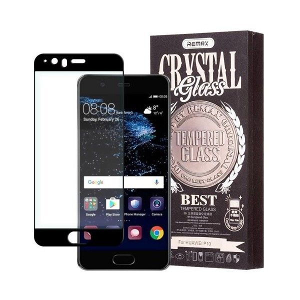 Pachet Folie sticla Huawei P10 si Husa silicon Ultra Slim - Remax Crystal Glass Full Screen 3D Black