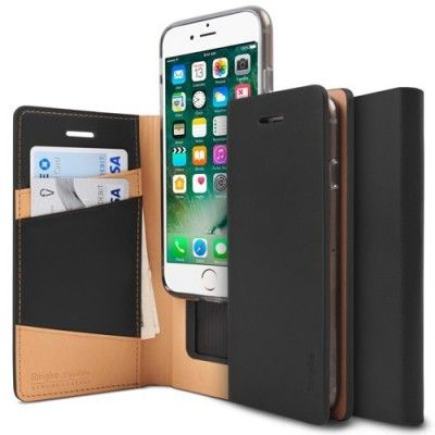 Husa iPhone 7 / iPhone 8 - Ringke Signature Geniune Leather  Flip Black