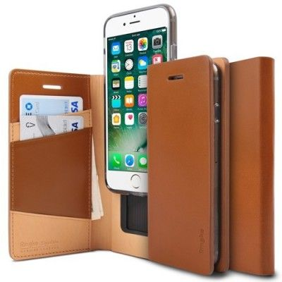 Husa iPhone 7 / iPhone 8 - Ringke Signature Geniune Leather  Flip Brown
