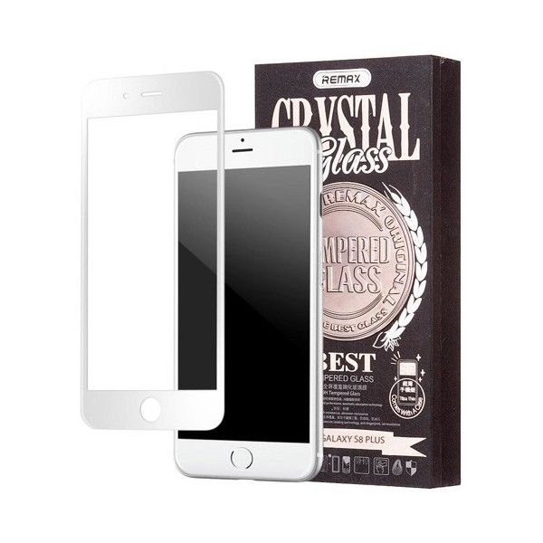 Pachet Folie sticla iPhone 7 Plus si Husa silicon Ultra Slim - Remax Crystal Glass Full Screen 3D White