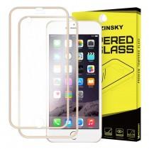 Folie sticla iPhone 6 / iPhone 6S Fata+Spate - Wozinsky  Full Screen cu rama aluminiu Gold
