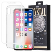 Pachet Folie sticla iPhone X si Husa silicon Ultra Slim - Remax Crystal Glass Full Screen 3D White