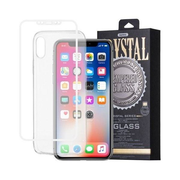 Pachet Folie sticla iPhone X si Husa silicon Ultra Slim - Remax Crystal Glass Full Screen 3D White