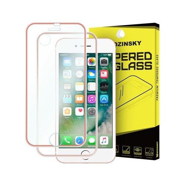 Folie sticla iPhone 7 / iPhone 8 Fata+Spate - Wozinsky  Full Screen cu rama aluminiu Pink