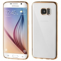 Husa Samsung Galaxy S7 Edge - Electroplating TPU Slim transparenta  cu rama Gold