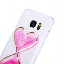 Husa Samsung Galaxy S7 - Heart Sandglass Liquid Case Pink
