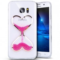 Husa Samsung Galaxy S7 - Heart Sandglass Liquid Case Pink